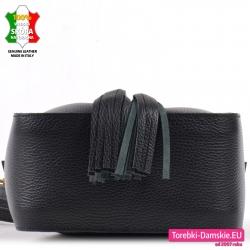 Pakowna torebka w kolorze czarnym ze skóry