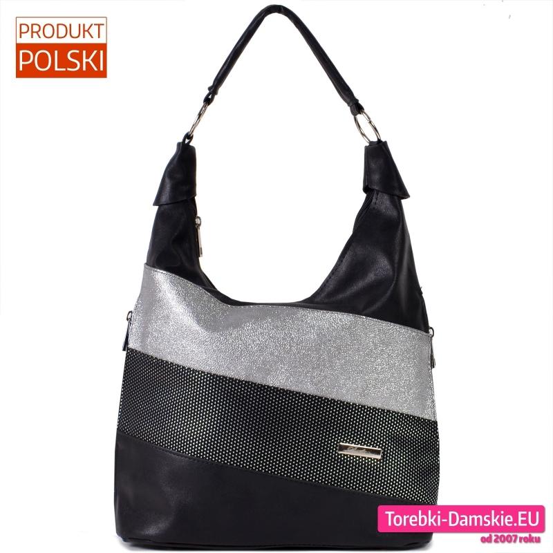 Duża czarna torba na ramię ze srebrnymi elementami z przodu - 119,00 zł
