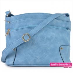Błękitna torebka crossbody listonoszka z pieczątką
