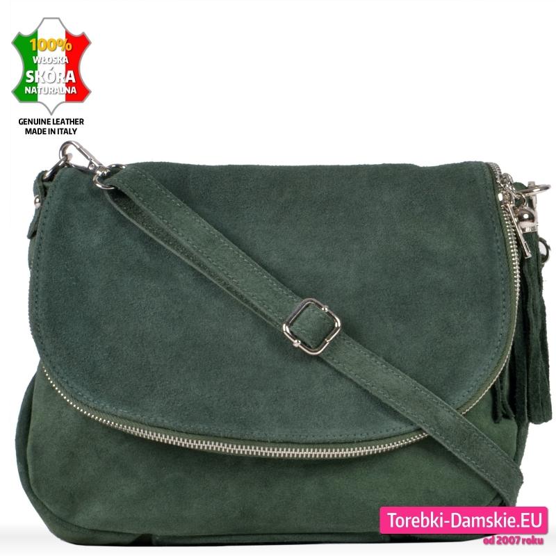 Zielona skórzana zamszowa torebka z klapą - 109,00 zł
