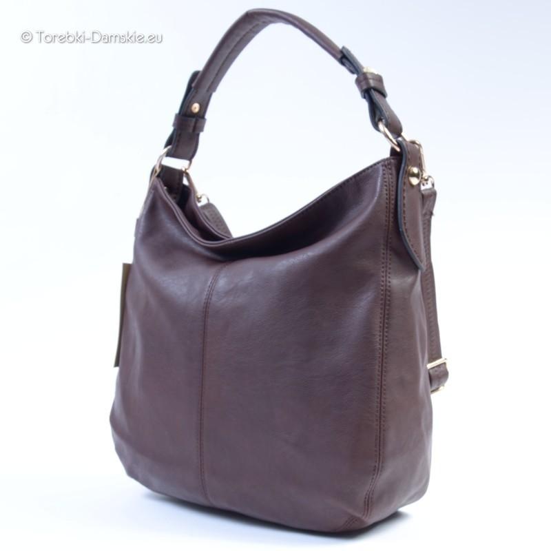 Wygodna w użytkowaniu pojemna torba na ramię w kolorze ciemnej kawy