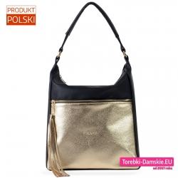 Duża czarno - złota polska torba damska z chwostem