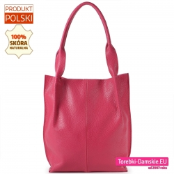 Skórzana torba damska w kolorze fuksja
