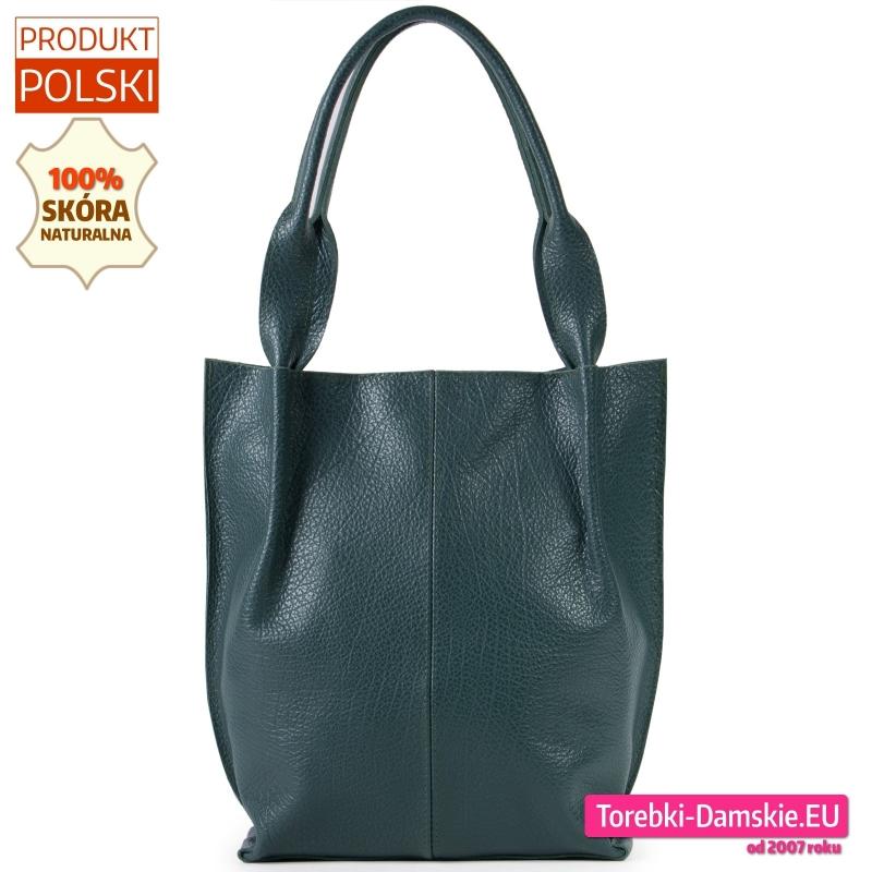 Zielona torba damska ze skóry naturalnej duży shopperbag