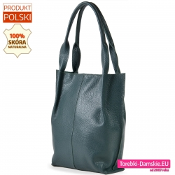 Pojemny duży shopperbag torba miejska na ramię zielona
