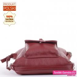 Torebko-plecak skórzany w kolorze bordowym z kieszenią z klapką z przodu