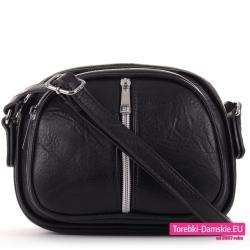 Trzykomorowa mała czarna torebka z pionowym suwakiem