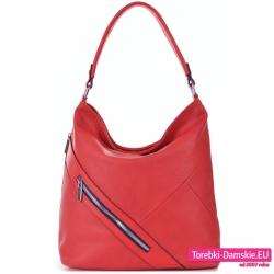 Czerwona torebka z ukośnym suwakiem z przodu