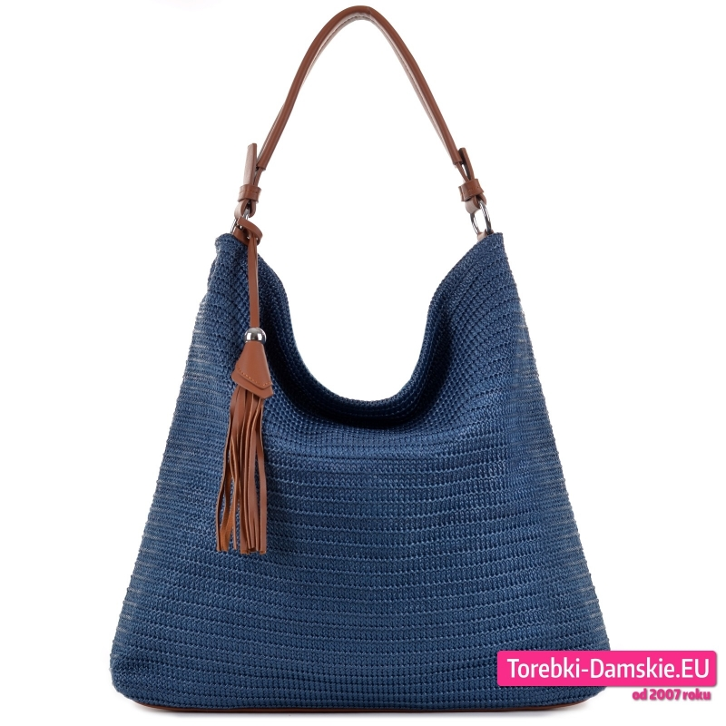 Granatowa duża lekka torba na ramię z tkaniny