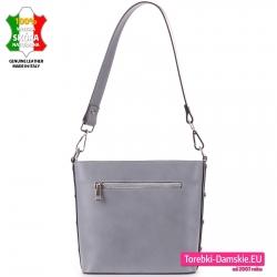 Włoska skórzana popielata torebka z kieszenią z tyłu