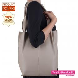 Beżowa torba na ramię shopper z naturalnej miękkiej skóry