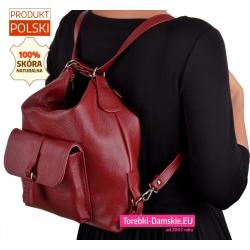 Bordowy plecak skórzany damski