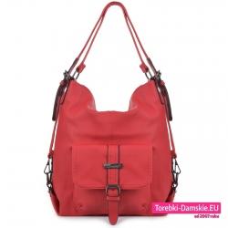Czerwona pojemna torba damska na ramię