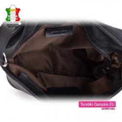 Zamykana suwakiem czarna włoska torebka mieszcząca A4