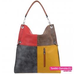 Grafitowo - czerwono - brązowo - żółta torba damska