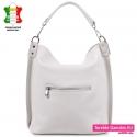 Funkcjonalna modna biała skórzana włoska torba z kieszenią z tyłu