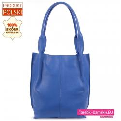 Błękitna skórzana torba shopper na ramię