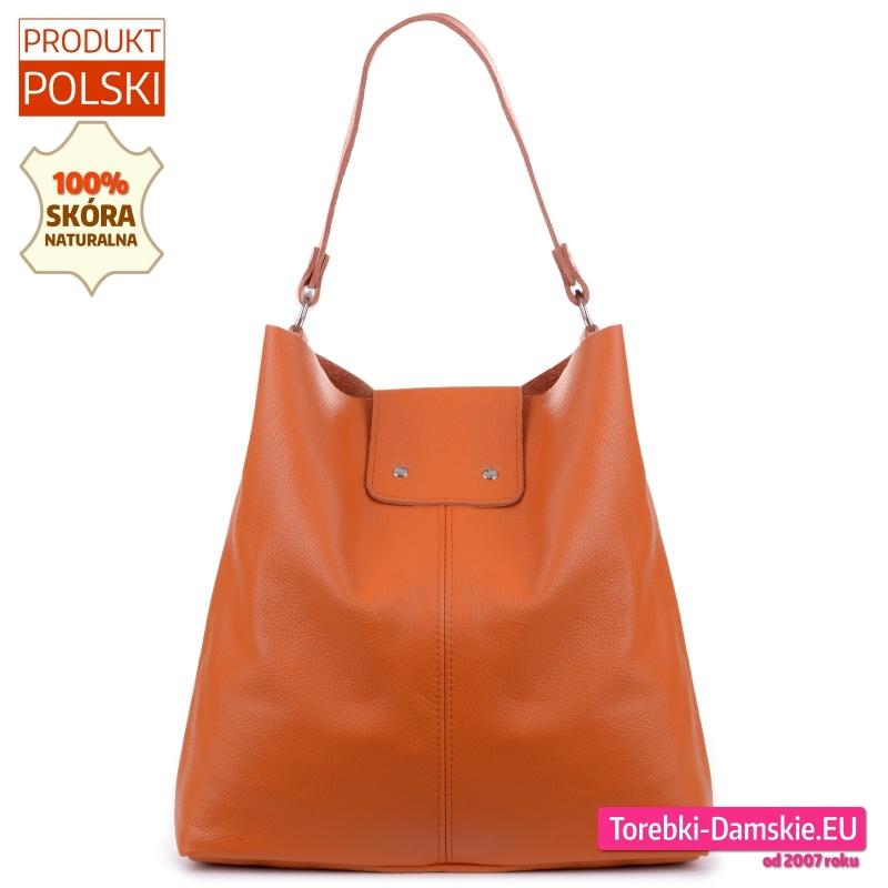 Skórzana pomarańczowa duża torba worek shopper