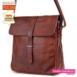 Duża skórzana torba damska do przewieszenia w kolorze brązowym