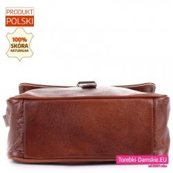 Pojemna torebka z brązowej skóry ze sztywnym dnem