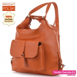 Skórzany pomarańczowy plecak damski i torba w jednym
