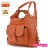 Pomarańczowy plecak i torba damska w jednym ze skóry naturalnej