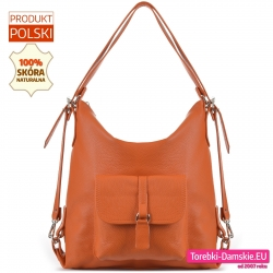 Torbo - plecak w kolorze pomarańczowym z naturalnej skóry