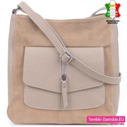 Skórzana stylowa beżowa torebka z kieszenią z klapą z przodu