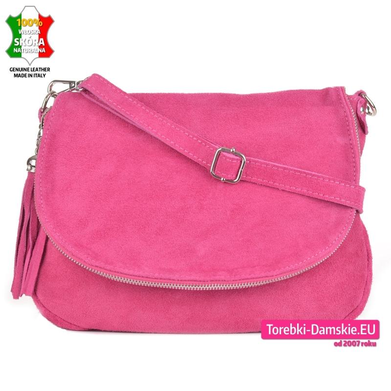 Różowa torebka skórzana zamszowa listonoszka