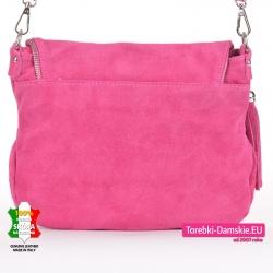 Włoska torebka crossbody z różowej miękkiej skóry