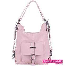 Różowa pojemna torba damska na ramię worek