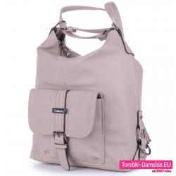Beżowy plecak damski z kieszenią z przodu