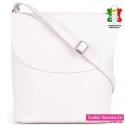 Skórzana biała pojemna torba listonoszka z klapą