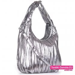 Lekka duża torba na ramię/do przewieszenia srebrna
