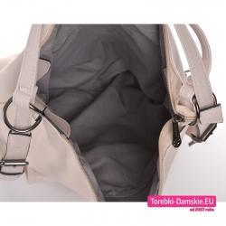 Zamykana suwakiem pojemna torba beżowa z kieszeniami wewnątrz