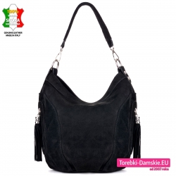 Włoska czarna skórzana torebka zamszowa na ramię