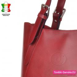 Włoska torba damska w kolorze bordowym z gładkiej skóry