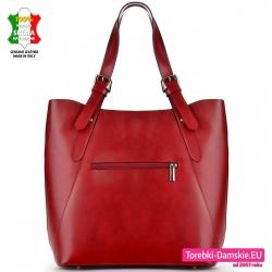 Duża torba damska włoska z kieszenią z tyłu kolor bordo