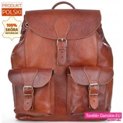 Skórzany duży brązowy plecak damski w stylu vintage