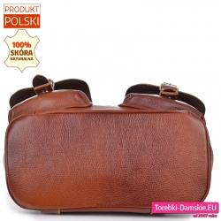 Pojemny plecak skórzany brązowy z płaskim spodem usztywnionym