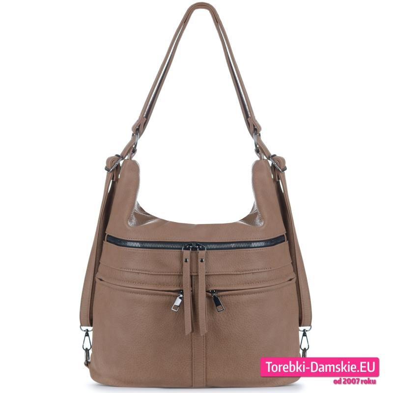 Beżowa duża torba worek i plecak damski w jednym