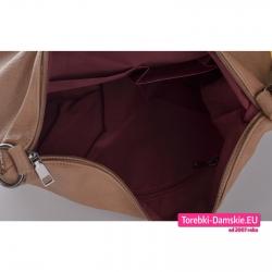 Zamykana suwakiem duża beżowa torba / plecak z 3 kieszeniami wewnątrz