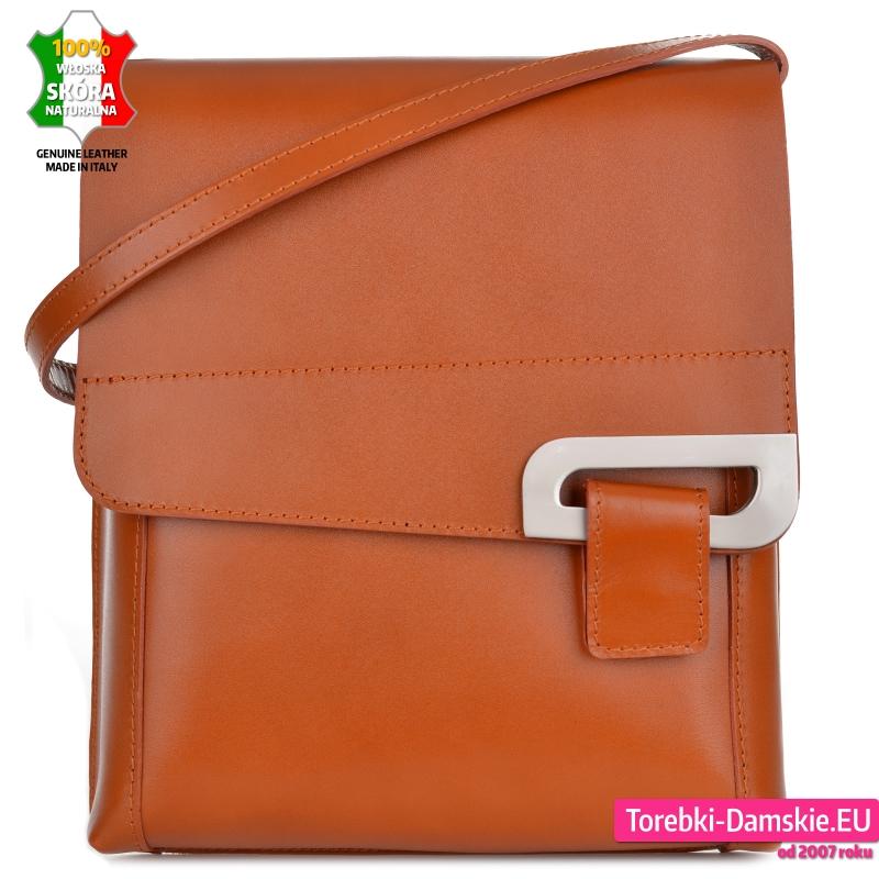 Skórzana prostokątna włoska torebka listonoszka średniej wielkości