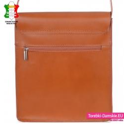 Prostokątna pojemna torebka crossbody jasnobrązowa ruda ze skóry