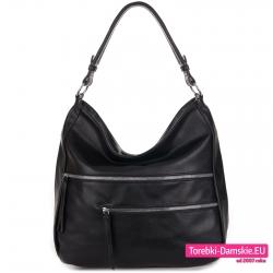 Duża torba damska czarna z kieszeniami z przodu