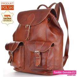 Duży pojemny skórzany brązowy plecak damski z klapą w stylu vintage