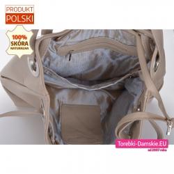 Duża torba 4 kieszeniami wewnątrz beżowa skóra naturalna