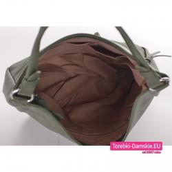 Zielona torba zamykana szczelnie suwakiem z 3 kieszeniami wewnątrz i podszewką