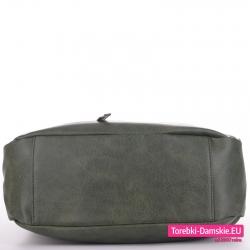 Duża torba zielona worek z płaskim spodem usztywnionym