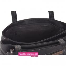 Dwukomorowa czarna torebka z kieszeniami